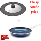 Blue Diamond Ceramic 12 Non Stick Skillet and 12 Frying Pans Glass  Silicone