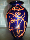 Art Glass Cobalt Blue with Red Abstract Vase Signed Tom Anderson Pilchuck