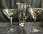 Luminescence Mosaic Milano Glass Cocktail Martini Pitcher With 2 Martini Glasses