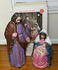 Vtg TPI Nativity Christmas Blow Mold Yard Decor Joseph Mary Jesus 36 Non Light