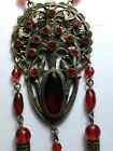 ANTIQUE CZECH RUBY RED GLASS RHINESTONE GOLD TONE PENDANT NECKLACE DANGLE
