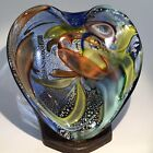 Vintage Murano Cobalt Blue With Silver Flakes Heavy Heart Shaped Art Glass Bowl