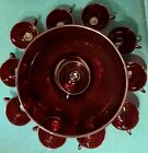 ANCHOR HOCKING RUBY GLASS PUNCH BOWL SET WITH STAND AND 10 CUPS