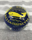 Vintage New Bedford Massachusettes Whale Glass Paperweight Whales Whale City EUC