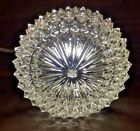 Small Clear Cut Glass Light Cover Ceiling Flush Mount 75 x 4 Vintage 1980s