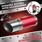 Red Scooter Short Performance Exhaust System Carbon For GY6 150cc Scooter