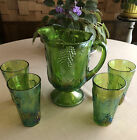 Vintage Indiana Carnival Glass Iridescent Lime Green Pitcher and Tumbler Set 5pc