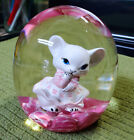 1975 Maude  Bob St Clair Art Glass GIRL MOUSE Inside Paperweight Pink  White