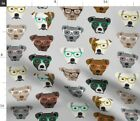 Dog Dogs Glasses Pitbull Cute Dog Pittie Pitty Spoonflower Fabric by the Yard