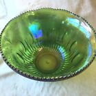 Indiana Harvest Green Lime Iridescent Carnival Glass Punch Bowl 12 Cup 7qt Grape