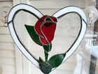 Stained Glass Window Art Heart with Single Red Rose Bud Hand Made Suncatcher 8
