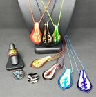 LOT 7 of Murano Style Glass Pendants on Cords with 3 Glass Rings