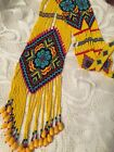 Yellow BLUE VTG Native American hand made glass seed bead multi strand necklace