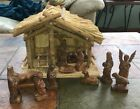 Laos wooden hand carved NATIVITY SET with stable purchased in 2009 never used