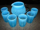 Vintage Fenton Glass Blue Opalescent Hobnail Squat Jug  6 Tumblers Juice Set