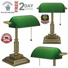 Vintage Bankers Lamp Green Shade Desk Antiques Glass Table Light Home Lampshades