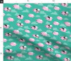 Flying Pigs Caps Glasses Fly Cute Teal Grey Funny Spoonflower Fabric by the Yard