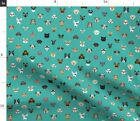 Dogs Cats Glasses Dog Cat Pet Faces Cute Teal Spoonflower Fabric by the Yard