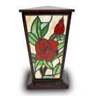 Rose Stained Glass Cremation Urn for Human Ashes Large Red