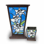 White Lily Stained Glass Cremation urn for ashes Large White