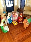 VINTAGE LARGE 7 PIECE NATIVITY SCENE BLOW MOLD SET BY GENERAL FOAM MFG