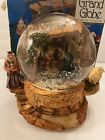 Ornate Large Christmas Musical Snow Globe w Nativity Scene Silent night 1994