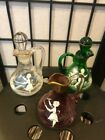 3 Vintage Bohemian Czech Mary Gregory Glass Cruet Cranberry Green Clear
