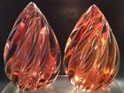 1950s Alfredo Barbini Sommerso Glass Twisted Flame Paperweight Bookends Murano