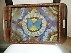 Vintage Butterfly Wing Art Wood Inlay Serving Tray Unlabeled Glass top 20 x 13
