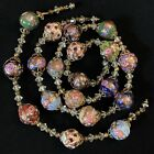 Vtg Murano Multi Color Wedding Cake Venetian Glass Bead Necklace  Bracelet Set