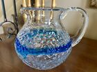 Hand Blown Mexican Style Blue And Clear Bubble Glass Design Pitcher