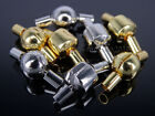 Solid Metal Leather Cord Clasp Connector Spacer Charm Beads Silver Gold Plated