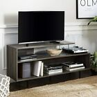 Walker Edison Asymmetrical Wood and Glass Universal TV Stand with Open Shelves