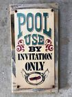 Pool Rules Use by Invitation Only Private Vintage Framed Sign Decor Porch Patio