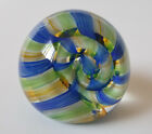 Caithness Art Glass Paperweight Ribbons Blue Green White Swirl McIntosh