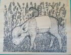 House Mouse Designs 1998 Wood Mounted Rubber Stamp 267 Piggyback Muzzy
