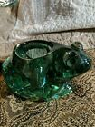 VintMurano Style Green Drip  Clear Art Glass Frog Sculpture Paper Weight 6x4