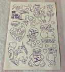 Vintage Lisa Frank Gumball Markie Bears Cow Color Your Own Valentines Stickers