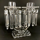 Vintage Cut Crystal Clear Glass Two Arm Candle Holders With 20 Bobeches Prisms