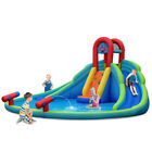 Inflatable Bounce House Kids Water Splash Pool Dual Slides Climbing Wall Gift