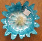 New AKCAM blue iridescent Flower Floral Bowl serving decorative 1125 spring