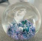 1991 Selkirk Glass STORMFORCE Paperweight purple white blue Made in Scotland