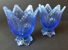 Fenton Glass 2 Way Reversible Tulip Votive Taper Candle Holders Blue Pair Of 2