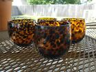 Set of 4 Hand Blown Art Glass Amber Brown Tumblers Drinking Glasses Leopard
