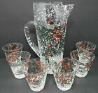 West Virginia Glass Co Snowy Holly Martini Pitcher and 6 Glasses MCM