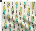 Feathers Bohemian Tribal Native Teal Yellow Spoonflower Fabric by the Yard