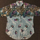Vtg 90s Mountain Lion All Over Print Shirt L USA Birds Animals Nature Grunge 80s
