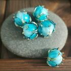 Lampwork Beads 5 PCS jewelry making beads DIY Blue Flowers Murano Glass Handmade