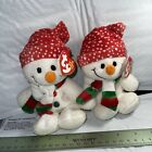 Ty Beanie Baby Freezie Snowman 2005 Christmas Snowgirl Lot of 2 Hat Scarf Cold