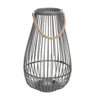 Hanging Cage Light Lantern Rope Handle Flameless Glass Panel Home Decor 2126H